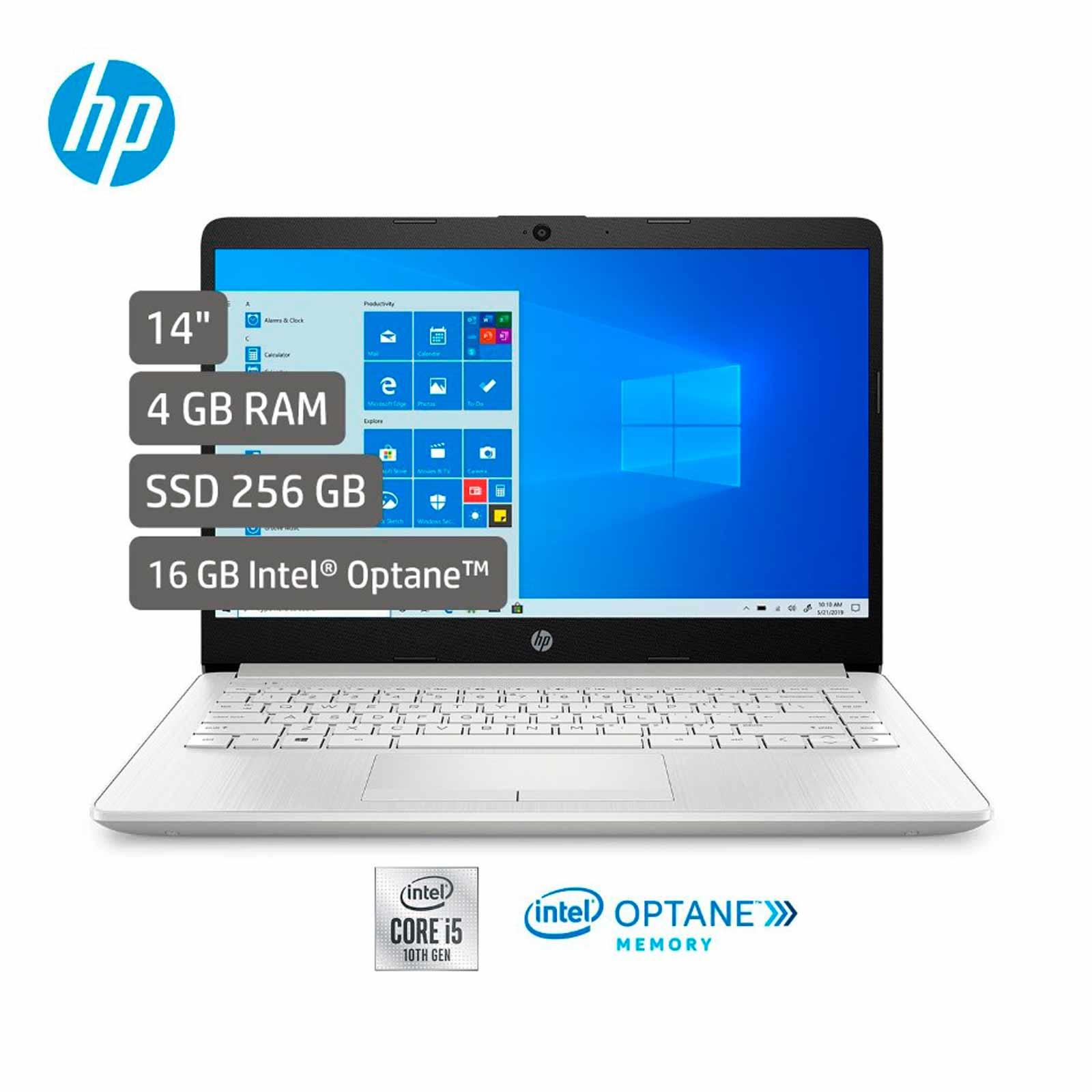 """portátil hp, intel core i5, ram 4 gb + optane 16 gb, 256 gb ssd, 14-cf2054la, de 14"""", plateado"""