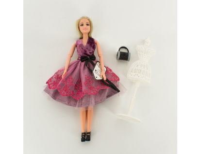 muneca-emily-30-cm-con-vestido-morado-con-bolso-7701016041034