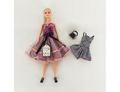 muneca-emily-30-cm-con-vestido-y-chal-morado-7701016041041