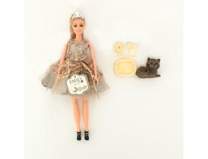muneca-emily-30-cm-con-vestido-plateado-con-gato-7701016040914