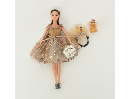 muneca-emily-30-cm-con-vestido-plateado-con-mascota-7701016040945