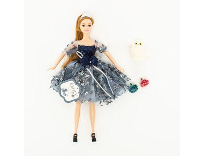 muneca-emily-30-cm-con-mascota-vestido-azul-con-lentejuelas-7701016040860