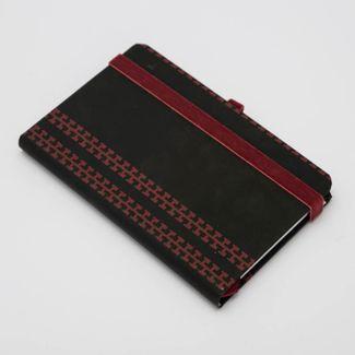 libreta-ejecutiva-de-9-5-cm-x-14-7-cm-hoja-a-rayas-diseno-tribal-cuadros-color-negro-con-vinotinto-9788416055708