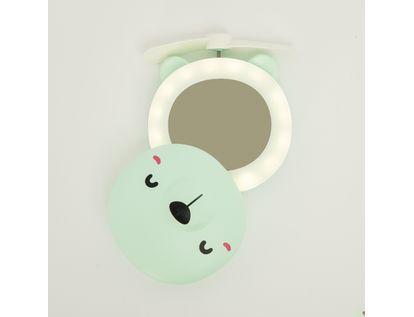 mini-ventilador-con-espejo-con-luz-led-diseno-de-oso-color-verde-7701016031981