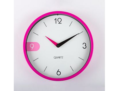 reloj-de-pared-22-cm-blanco-circular-con-borde-fucsia-614525