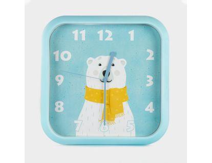 reloj-de-pared-30-cm-azul-cuadrado-diseno-oso-polar-614466