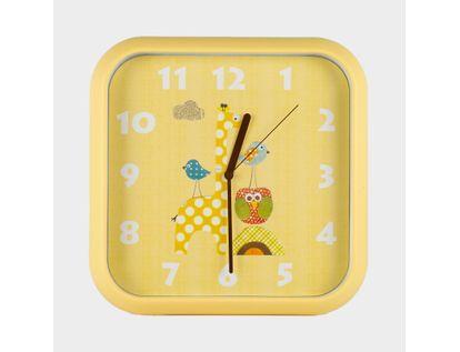 reloj-de-pared-30-cm-amarillo-cuadrado-diseno-jirafa-614467