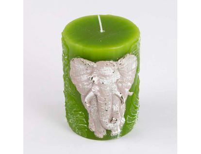 vela-verde-solida-grabado-elefante-y-hojas-10-cm-7701016862905
