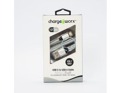 cable-usb-c-a-usb-a-chargeworx-3m-plateado-643620005781