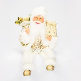 santa-37cm-sentado-traje-blanco-y-dorado-lentejuelas-con-regalo-y-bolsa-7701016149297