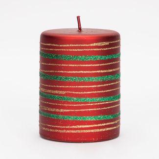 vela-17-3x9-4cm-roja-con-franjas-verde-y-dorado-7701016196581