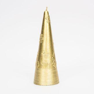 vela-navidena-dorada-de-15-cm-diseno-cono-con-renos-y-copos-de-nieve-7701016175579