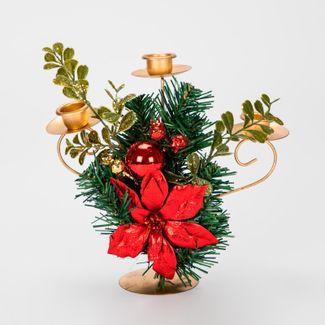 candelabro-de-21-x-23-cm-con-3-portavelas-dorados-poinsettia-roja-7701016967952