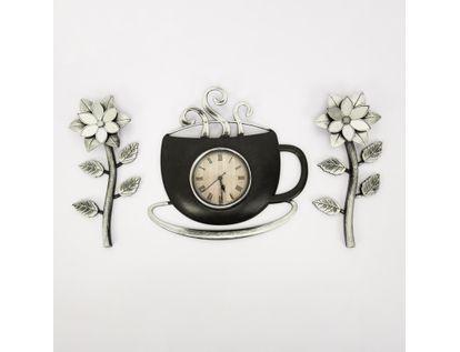 set-reloj-de-pared-30cm-taza-con-flores-negro-y-plateado-7701016124270