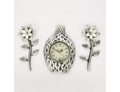 set-reloj-de-pared-29-5cm-jarron-con-flores-plateado-y-negro-7701016124294