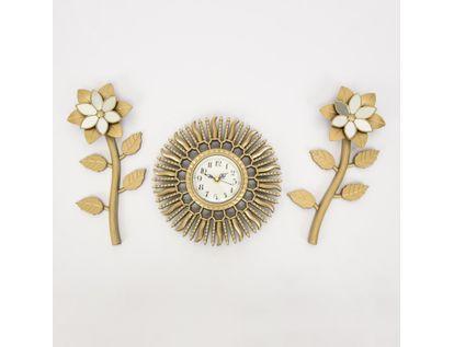 set-reloj-de-pared-23-5cm-sol-con-flores-champagne-7701016124300