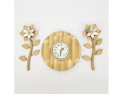 set-reloj-de-pared-25cm-circular-ondas-con-flores-champagne-7701016124317