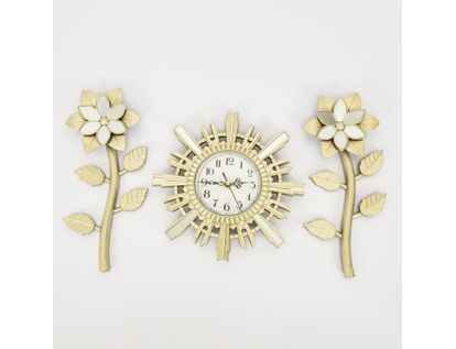 set-reloj-de-pared-25cm-sol-con-flores-champagne-7701016124324