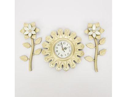 set-reloj-de-pared-25-5cm-con-flores-champagne-7701016124348