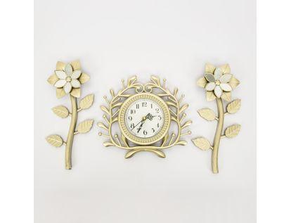 set-reloj-de-pared-25cm-ramas-con-flores-champagne-7701016124355