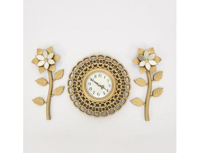 set-reloj-de-pared-25cm-eslabones-con-flores-champagne-7701016124362