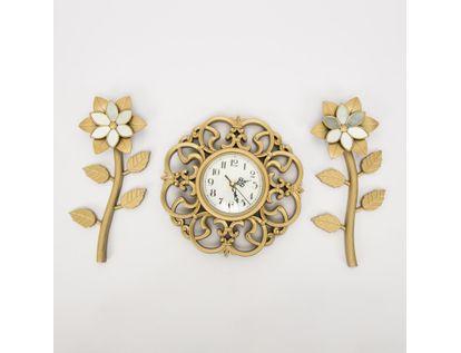 set-reloj-de-pared-25cm-arabescos-con-flores-champagne-7701016124393