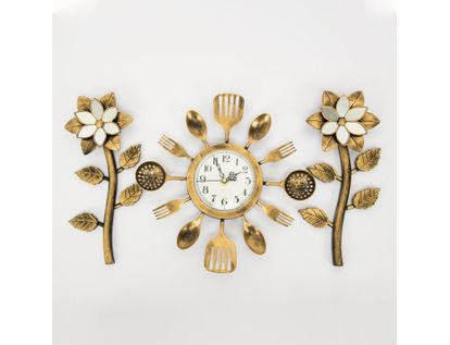 set-reloj-de-pared-30cm-cubiertos-con-flores-dorado-y-negro-7701016124416