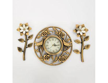 set-reloj-de-pared-30cm-circular-aves-con-flores-dorado-y-negro-7701016124423