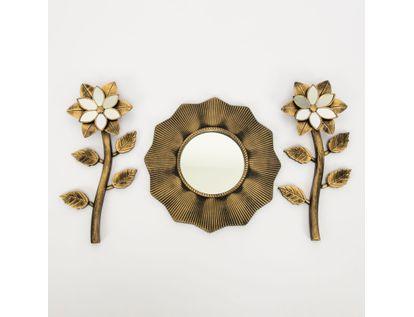 set-espejo-de-pared-25cm-ondas-con-flores-dorado-y-negro-7701016124447