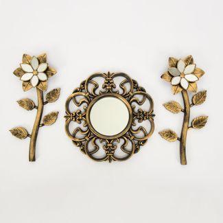 set-espejo-de-pared-25cm-arabescos-con-flores-dorado-y-negro-7701016124461