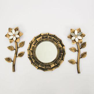 set-espejo-de-pared-25cm-telarana-con-flores-dorado-y-negro-7701016124478