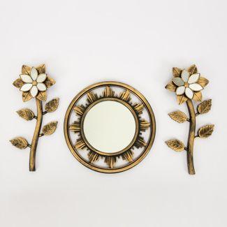 set-espejo-de-pared-25-5cm-circular-con-flores-dorado-y-negro-7701016124485