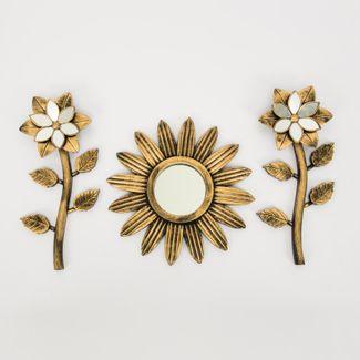 set-espejo-de-pared-25cm-margarita-con-flores-dorado-y-negro-7701016124492