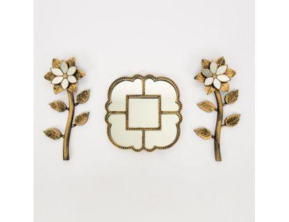 set-espejo-de-pared-22-5cm-figuras-con-flores-dorado-y-negro-7701016124508