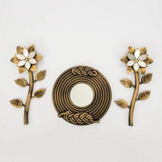 set-espejo-de-pared-22cm-trenzado-con-flores-dorado-7701016124515