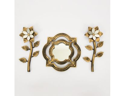 set-espejo-de-pared-25-5cm-con-flores-dorado-y-negro-7701016124522