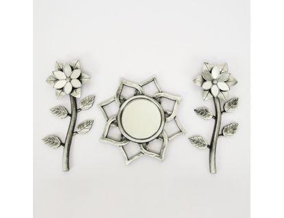 set-espejo-de-pared-25cm-sol-con-flores-plateado-y-negro-7701016124539