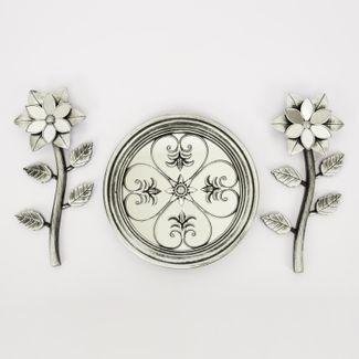 set-espejo-de-pared-25cm-circular-con-flores-plateado-y-negro-7701016124546