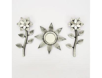 set-espejo-de-pared-25cm-con-flores-plateado-7701016124553