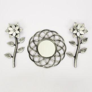 set-espejo-de-pared-25-5cm-ondas-con-flores-plateado-y-negro-7701016124560