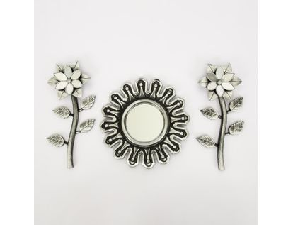 set-espejo-de-pared-25cm-con-flores-plateado-y-negro-7701016124577