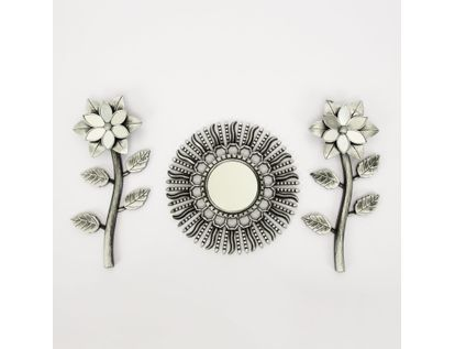 set-espejo-de-pared-23-5cm-sol-con-flores-plateado-7701016124584
