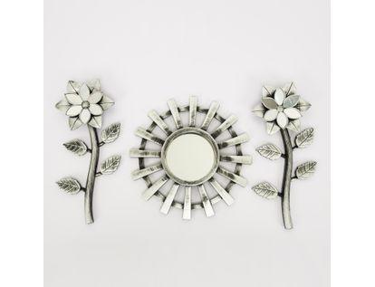 set-espejo-de-pared-25cm-rueda-con-flores-plateado-y-negro-7701016124591