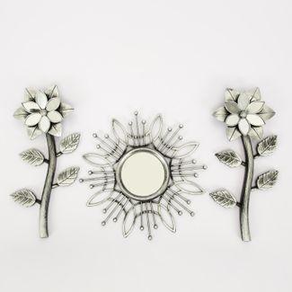 set-espejo-de-pared-25cm-con-flores-plateado-y-negro-7701016124607