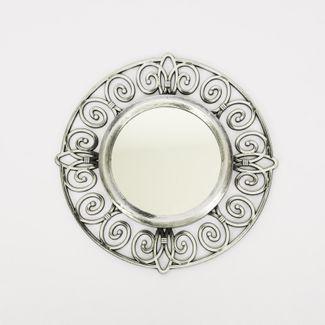 set-espejo-de-pared-25cm-circular-con-flores-plateado-y-negro-7701016124614