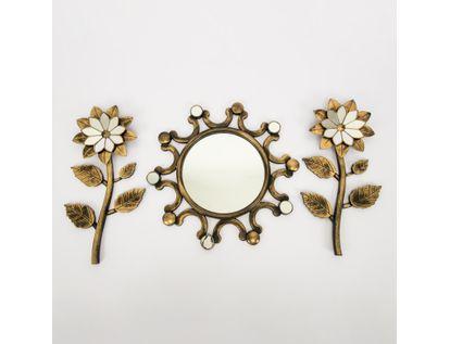 set-espejo-de-pared-39cm-semicirculos-con-flores-dorado-y-negro-7701016124621