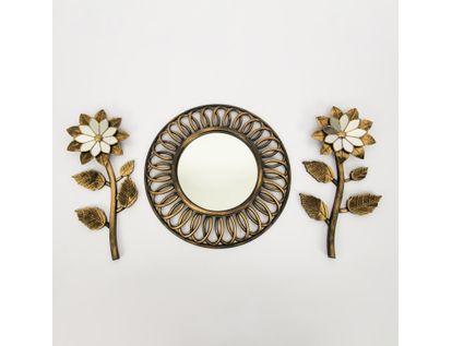 set-espejo-de-pared-40cm-aros-con-flores-dorado-y-negro-7701016124638