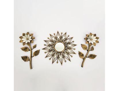 set-espejo-de-pared-38cm-sol-con-flores-dorado-y-negro-7701016124645