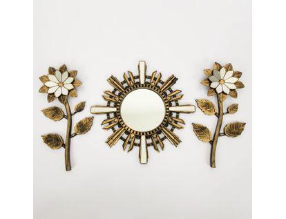 set-espejo-de-pared-39-5cm-sol-con-flores-dorado-y-negro-7701016124652