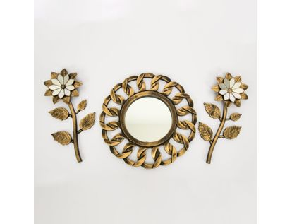 set-espejo-de-pared-39cm-cadena-con-flores-dorado-y-negro-7701016124669